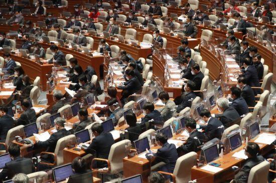 2일 오후 국회 본회의장에서 2021년도 예산안 등 처리를 위한 본회의가 열리고 있다. (사진=국토교통부)