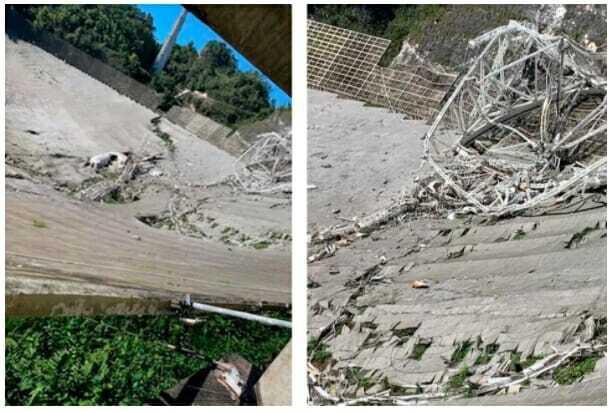 붕괴된 아레시보 망원경의 모습 (사진=미 센트럴플로리다 대학)