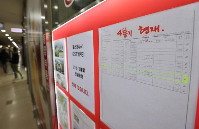 6일 서울 송파구 한 부동산 중개업소에 실거래가 내역이 붙어있다. 연합뉴스