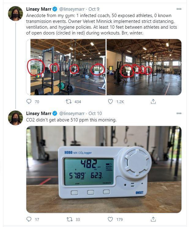 미국 버지니아주 블랙스버그의 460피트니스 회원인 린지 마가 신종 코로나바이러스 감염증(코로나19) 확산을 막을 수 있었던 클럽 내 시설 구조를 자랑한 게시물을 자신의 트위터에 올렸다. 린지 마 트위터 캡처