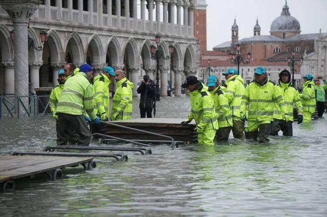 지난해 11월 침수된 베네치아./사진=뉴시스