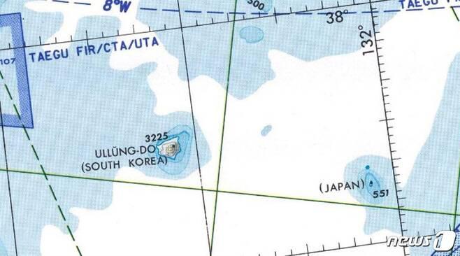 독도를 JAPAN 이라고 쓴 미국 정부의 1997년 항공도. 미국 국립 공문서관 소장. 551은 독도의 해발 고도(단위는 피트)를 가리킨다. (일본 산케이신문) © 뉴스1