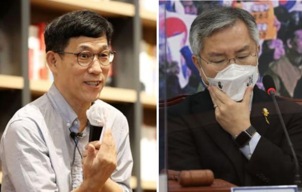 진중권 전 동양대 교수(왼쪽)와 열린민주당 최강욱 대표/연합뉴스