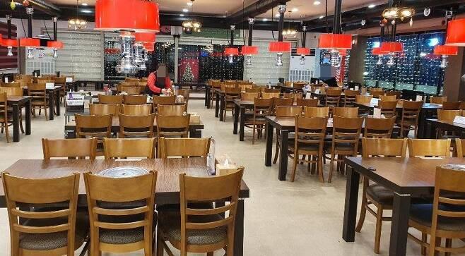 거리두기로 텅 빈 식당 [연합뉴스 자료사진]