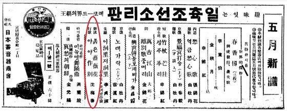 1927년 5월 일축조선소리판 신문광고에 소개된 심매향의 '붉은 장미화' '아아 작별'(원 안)이 실린 음반. [사진 국악음반박물관]