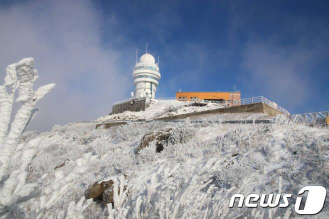14일 오전 충북 단양군 소백산국립공원에 전날부터 내린 눈이 하얗게 쌓여 있다. 소백산에는 17cm의 눈이 내렸다. (소백산국립공원 북부사무소 제공) 2020.12.14/뉴스1 © News1 김용빈 기자