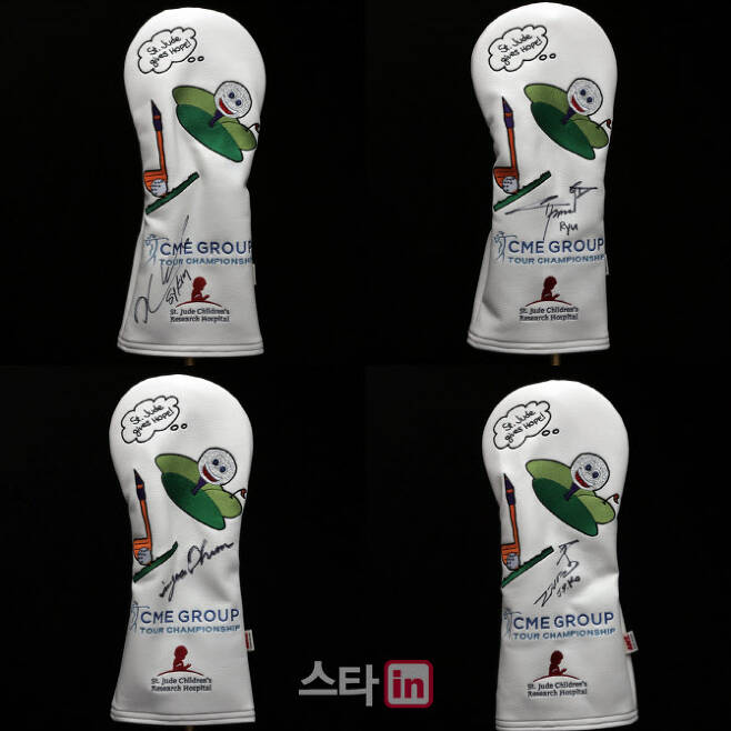 LPGA 자선 경매에 참여하는 선수가 사용하는 헤드커버. 윗줄 왼쪽부터 시계방향으로 김세영, 유소연, 고진영, 전인지. (사진=LPGA)