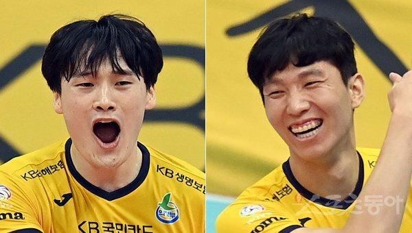 KB손해보험 김정호(왼쪽)-황택의. 스포츠동아DB