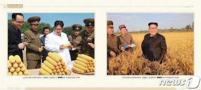 지난 2016년, 2017년 김정은 국무위원장의 농장 현지지도 모습. ('인민을 위한 길에서 2016-2020'' 갈무리)  © 뉴스1© 뉴스1