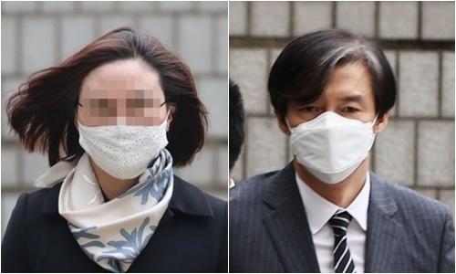 조국 전 법무부 장관(오른쪽)과 23일 1심 선고 후 법정구속된 그의 아내 정경심 동양대 교수. 연합뉴스