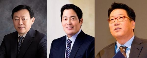 신동빈 롯데 회장, 정용진 신세계 부회장, 정지선 현대백화점그룹 회장. /조선DB