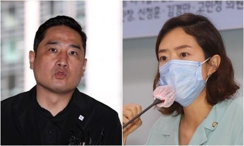 강용석 유튜브채널 가로세로연구소장(왼쪽), 고민정 더불어민주당 의원. 연합뉴스