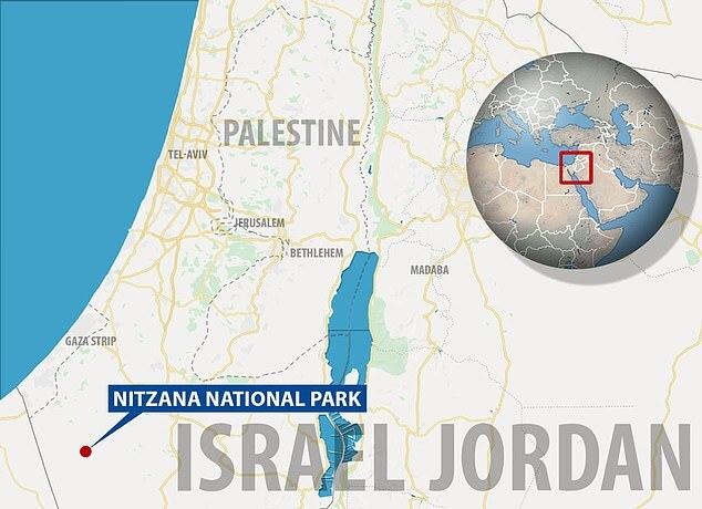이스라엘 니차나 국립공원의 위치를 나타낸 지도. 팔레스타인 가자 지구와 그리 멀지 않다.(사진=메일온라인)