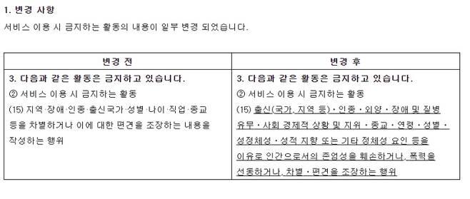 ▲ 카카오 운영정책 개정 전과 후.