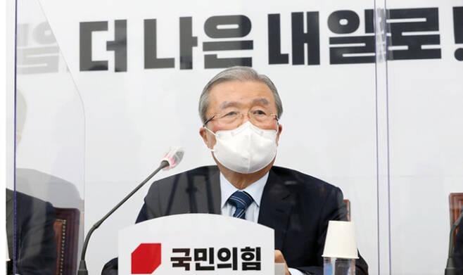 김종인 국민의힘 비상대책위원장이 지난 11일 오전 서울 여의도 국회에서 열린 비상대책위원회의에서 발언을 하고 있다. 뉴시스