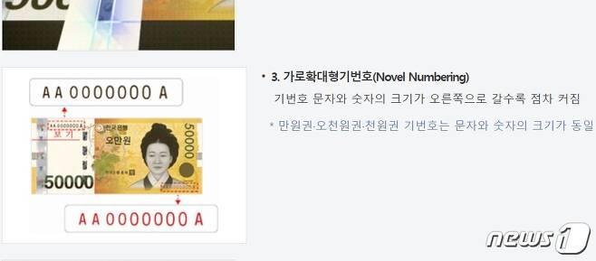 한국은행 홈페이지에 설명된 5만권 지폐(한국은행 홈페이지) © 뉴스1