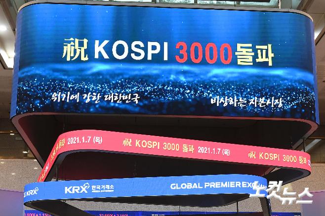 코스피가 종가 기준 첫 3000을 돌파한 지난 7일 서울 여의도 한국거래소. 박종민 기자