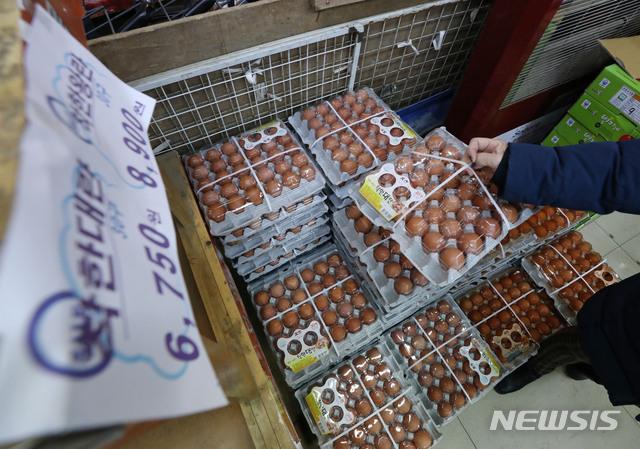 [서울=뉴시스]박미소 기자 = 연초부터 계란 등 축산물과 사과 등 과일값이 오르고 있는 18일 오전 서울 시내의 한 전통시장에서 한 시민이 계란을 살펴보고 있다. 농산물유통정보시스템에 따르면 특란 한 판(30개)은 6106원으로 평년 대비 12.2% 오른 수준이다. 2021.01.18. misocamera@newsis.com
