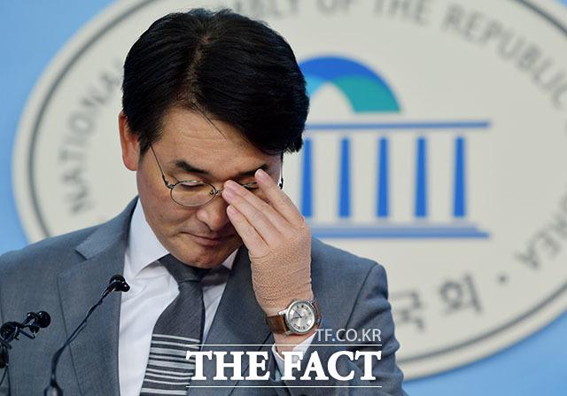 박용진 더불어민주당 의원이 기자회견을 열고 증권사 공매도 전산화 의무화 시스템 도입의 필요성을 강조했다. /이덕인 기자