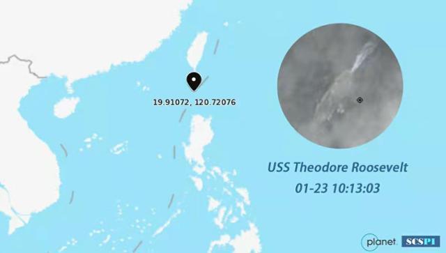 중국 베이징대 싱크탱크인 남중국해전략태세감지계획(SCSPI)이 23일 트위터에 공개한 위성사진과 좌표. 루스벨트 항모의 위치가 나타나 있다. SCSPI 트위터 캡처