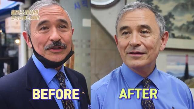 해리 해리스 주한 미국대사가 지난해 7월 25일 트위터에서 콧수염을 자른 모습을 공개했다. 트위터 캡처