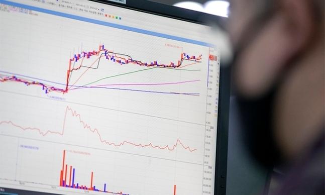 지난 22일 서울 중구 하나은행 딜링룸에 한 딜러가 한 업체의 주가 그래프를 바라보고 있다. 연합뉴스