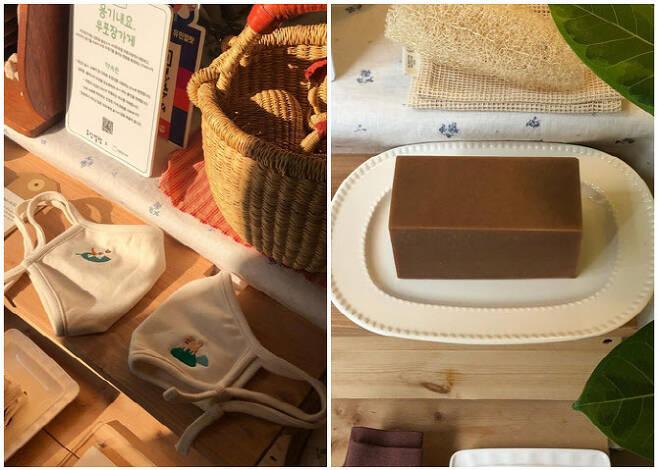 그린플리스 면 마스크(좌),유민얼랏 유기농 설거지 비누(우)(사진=유민얼랏)