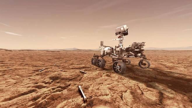 퍼서비어런스가 지구로 보내기 위해 채취한 암석과 토양 시료 상상도 [NASA/JPL-Caltech 제공/ 재판매 및 DB 금지]