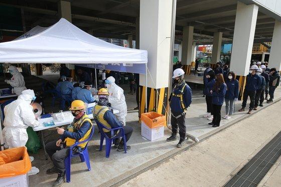 전남 영암군 보건소 의료진들이 23일 오전 영암군 삼호읍 현대삼호중공업에서 근로자 1만3000여 명을 대상으로 코로나19 전수검사를 진행하고 있다. 프리랜서 장정필