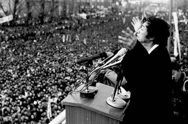 1987년 제13대 대통령선거 유세가 열린 서울 대학로. 통일문제연구소 제공