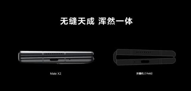 화웨이 폴더블 스마트폰 '메이트X2'(왼쪽)와 삼성전자 '갤럭시Z폴드2'. 화웨이 유튜브 캡처