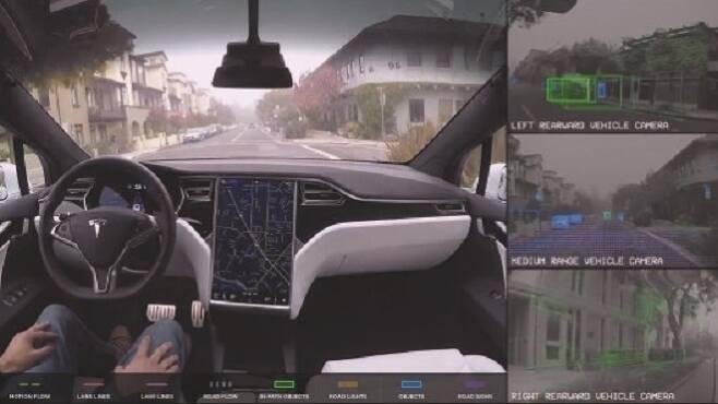 테슬라 오토파일럿을 이용한 시험 운전 모습. 사진=외신 카스쿱스