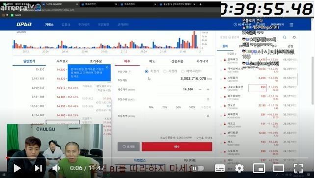 24일 아프리카TV BJ 겸 유튜버 철구가 암호화폐 투자 상황을 생중계하고 있다. © 뉴스1(유튜브 채널 갈무리)
