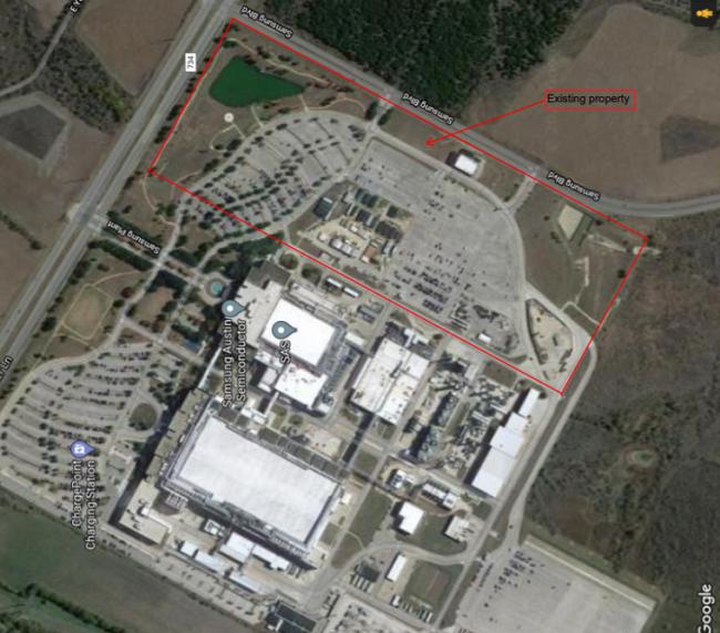 삼성전자의 미국 텍사스주 오스틴 공장 증설 후보지(붉은 색 사각형).