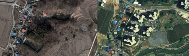 최씨와 이에스아이엔디가 사들인 농지와 임야는 아파트 건설이 확정된 2014년 공시지가가 매입 당시보다 2배 이상 올랐다. 왼쪽은 해당 토지 인근의 2008년 모습이고, 오른쪽은 최근의 모습이다. 카카오맵 갈무리