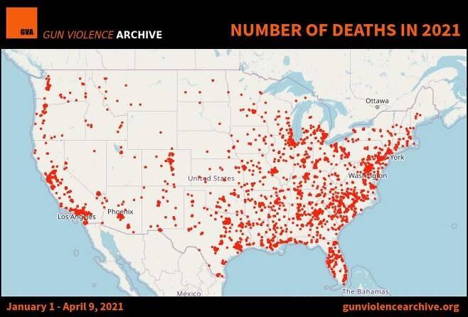 2021년 총기 관련 사건·사고 지도[총기폭력아카이브 웹사이트 캡처. 재판매 및 DB 금지]