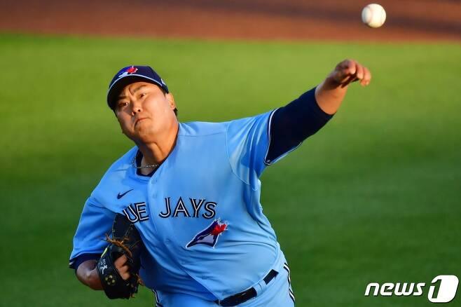 류현진는 뉴욕 양키스를 상대로 인상적인 호투를 펼쳤다. © AFP=뉴스1