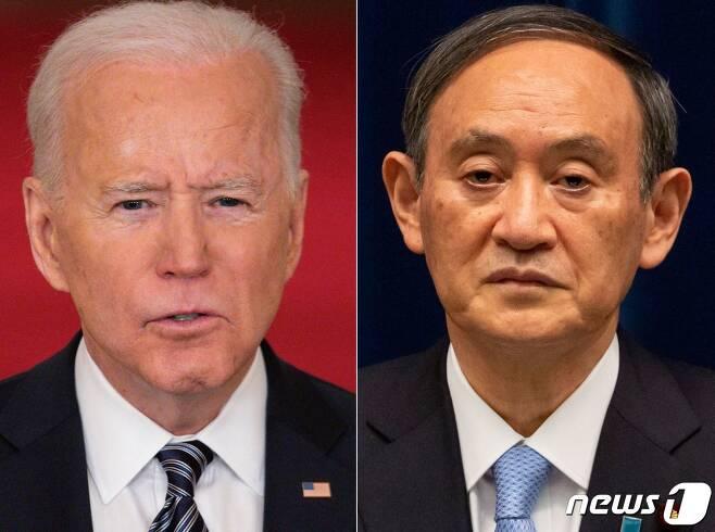 조 바이든 미국 대통령(왼쪽)과 스가 요시히데 일본 총리 <자료사진> © AFP=뉴스1