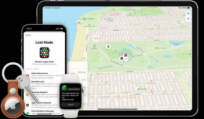 '나의 아이폰 찾기'에선 내 기기의 위치를 지도상에서 확인할 수 있다. 하지만 한국에선 제공하지 않는 서비스다.