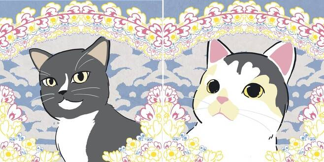 실제 사진 대신 일러스트로 오른 고양이 영정들. 길고양이 활동가 '캣츄'(@__cat_chu__)가 고어전문방 학대사건 피해 고양이로 기사에 자주 등장했던 '흙동이'(왼쪽)와 올 초 수원 지역 교육기관 앞에서 살해된 아기 고양이를 그림으로 그렸다, 좋은냥이 제공
