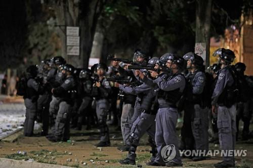 시위진압에 나선 이스라엘 보안군 [AFP=연합뉴스]