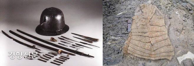 동래읍성 해자에서 확인된 다양한 무기류. 칼과 깍지, 창과 화살촉 등이 확인됐다.(왼쪽 사진) 오른쪽 사진은 조선군의 찰갑(갑옷).|경남문화재연구원 제공