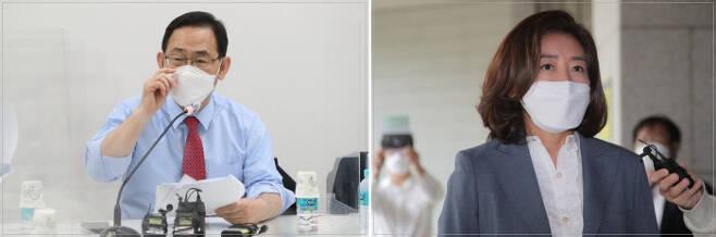 주호영 국민의힘 의원(왼쪽)과 나경원 전 의원. 연합뉴스