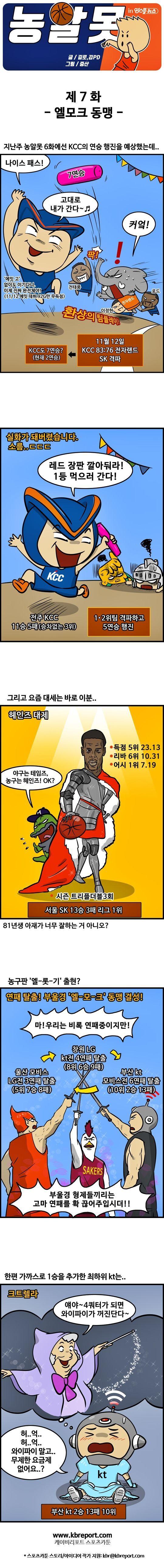출처: [농구카툰] 농알못 : '농구판 엘-롯-기? '엘-모-크' 동맹 탄생