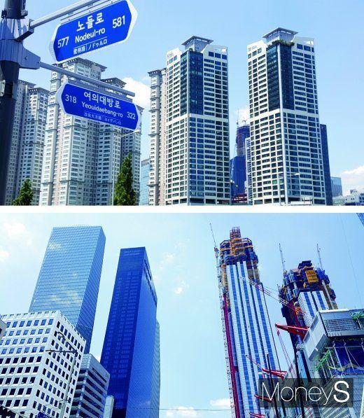 출처: 여의도의 한 주상복합 아파트(사진 윗쪽)와 IFC(사진 아래 왼쪽 뒷쪽부터), 콘래드호텔, 파크원 공사현장. /사진=김창성 기자