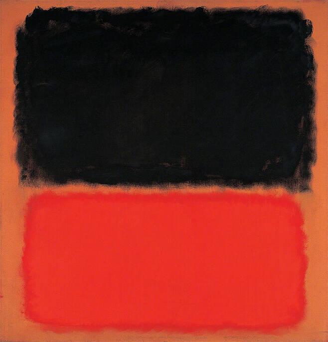 출처: Mark Rothko, Untitled (Black and Orange on Red), 1962.