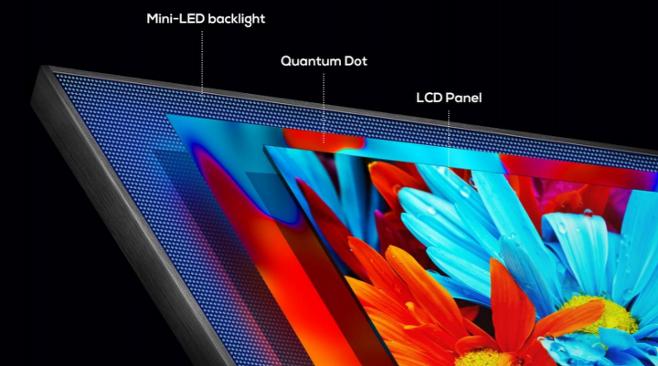 출처: 미니LED TV 구조. 작은 LED소자 수천~수만 개를 촘촘히 박아넣는 게 특징이다./사진=TCL