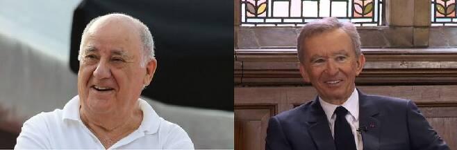 출처: (좌)아만시오 오르테가 전 회장 (우)베르나르 아르노 회장./포브스 홈페이지·유튜브 채널 'OxfordUnion' 캡처