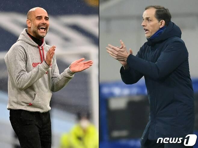 펩 과르디올라 맨시티 감독(왼쪽)과 토마스 투헬 첼시 감독.© AFP=뉴스1