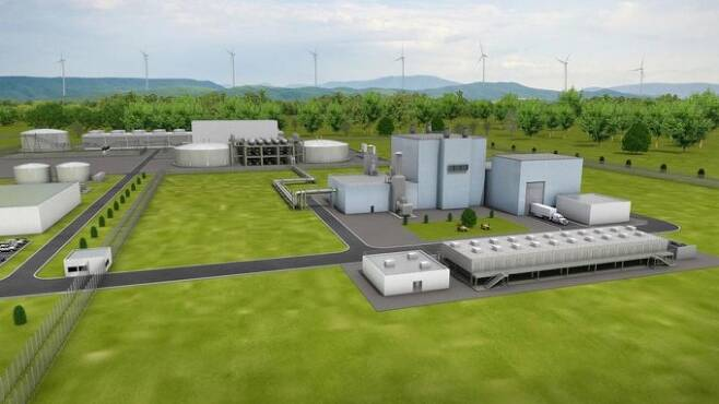 빌 게이츠가 창립한 원전 스타트업 테라파워가 올해 미국 와이오밍주에 건설을 시작한다는 혁신적인 4세대 원자로 개념도. 345MW(메가와트)급의 소형 원전으로 건설된다. 테라파워 제공